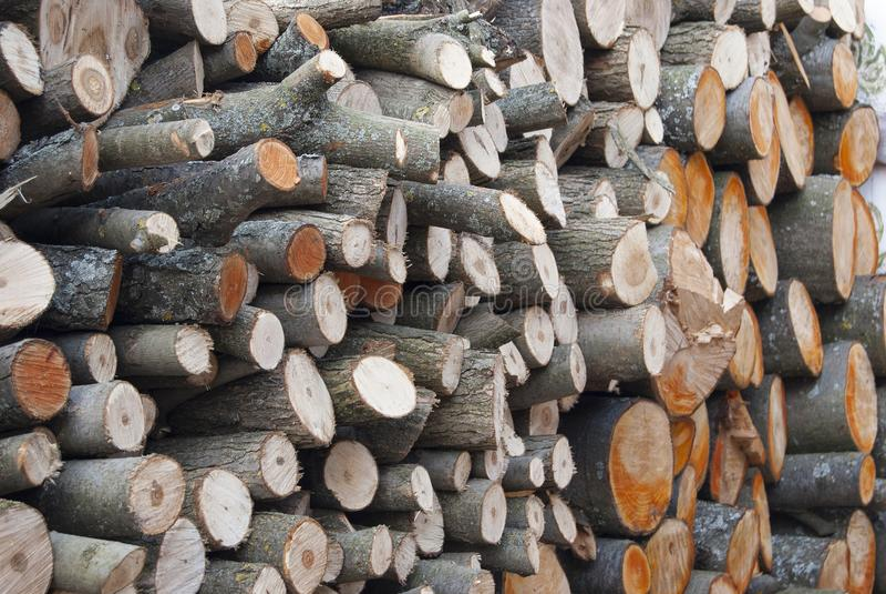Woodpile łupka, wypiętrzająca z okręgami kłama ampuła stos fotografia royalty free