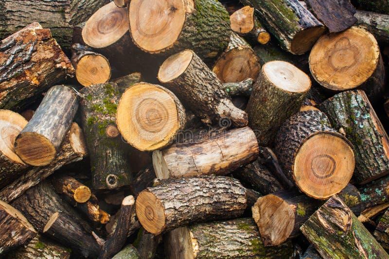Woodpile της τεμαχισμένης ξυλείας Σωρός των ξύλινων κούτσουρων Συσσωρευμένη ξυλεία καυσόξυλου στοκ φωτογραφία