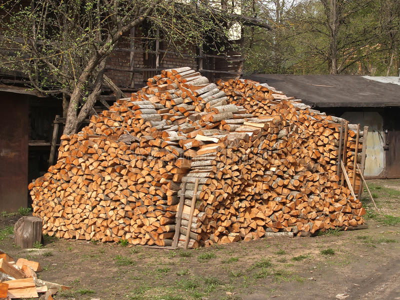 Woodpile of alder firewood in the yard.  royalty free stock image