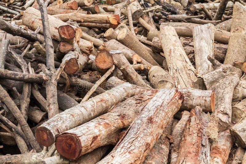 Woodpile de la madera de construcción cortada fotos de archivo