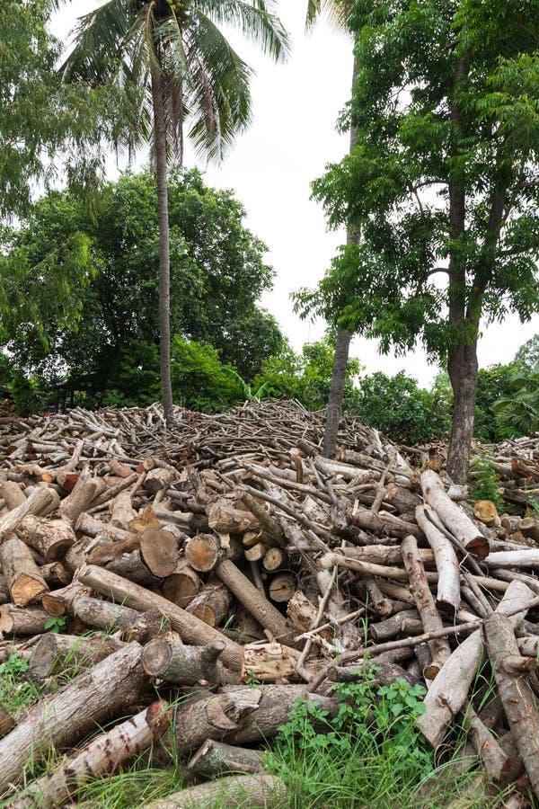 Woodpile de la madera de construcción cortada fotografía de archivo libre de regalías