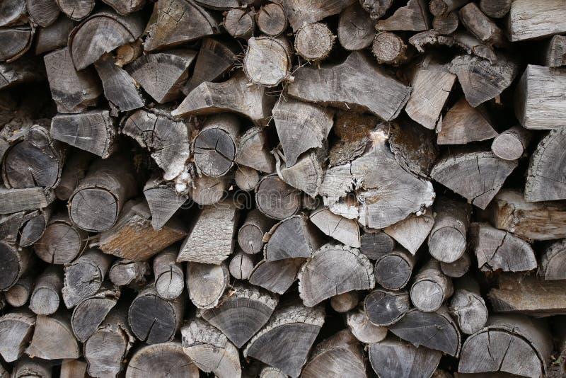 Woodpile am Rand des Waldes stockbilder