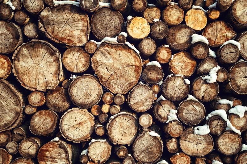 Woodpile in snow stock photography