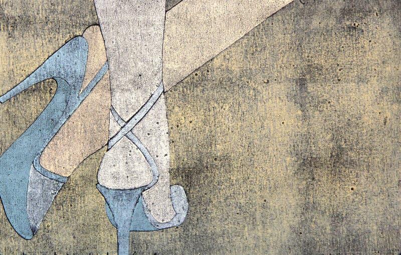 Woodprint de las piernas de la mujer que desgastan las sandalias stock de ilustración