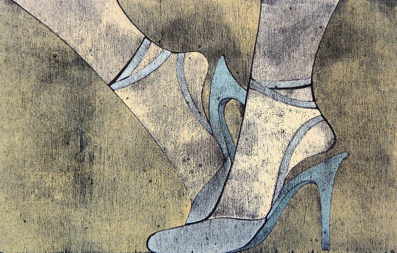 Woodprint de las piernas de la mujer que desgastan las sandalias. stock de ilustración