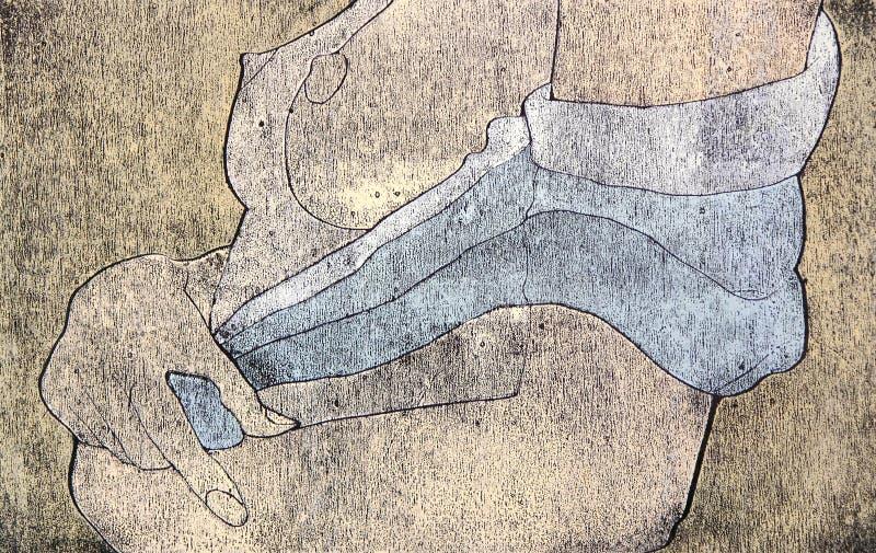 Woodprint Des Brests Nus Et De La Taille D Une Femme Photos stock