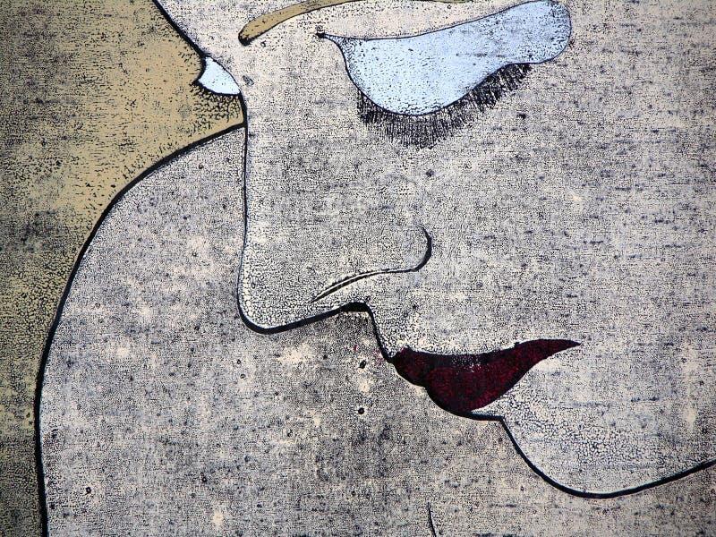 Woodprint eines traurigen Frauenportraits lizenzfreie abbildung