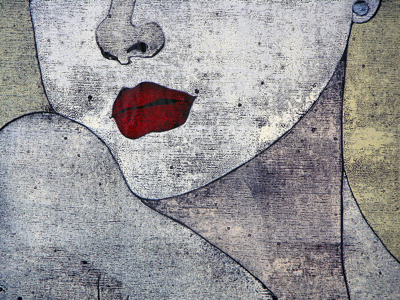 Woodprint - Portait D Un Femme Images libres de droits