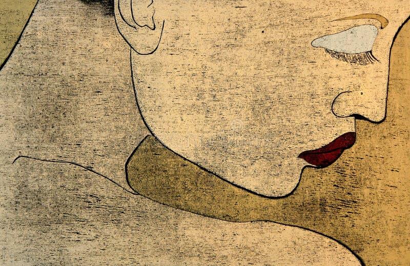 Woodprint - portait de uma mulher ilustração do vetor