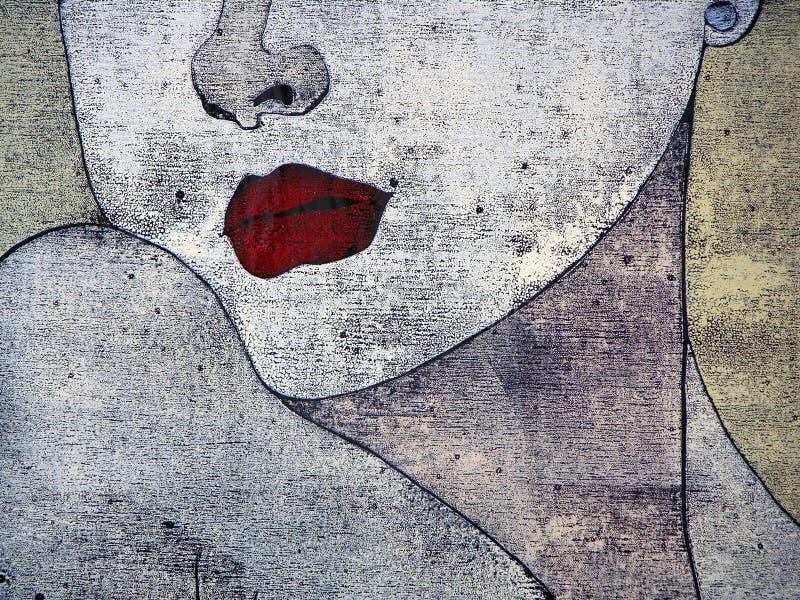 Woodprint - portait de uma mulher ilustração stock