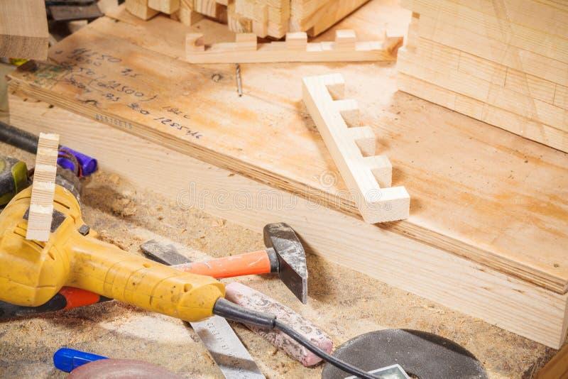 Woodroom carpenter table royalty free stock photos