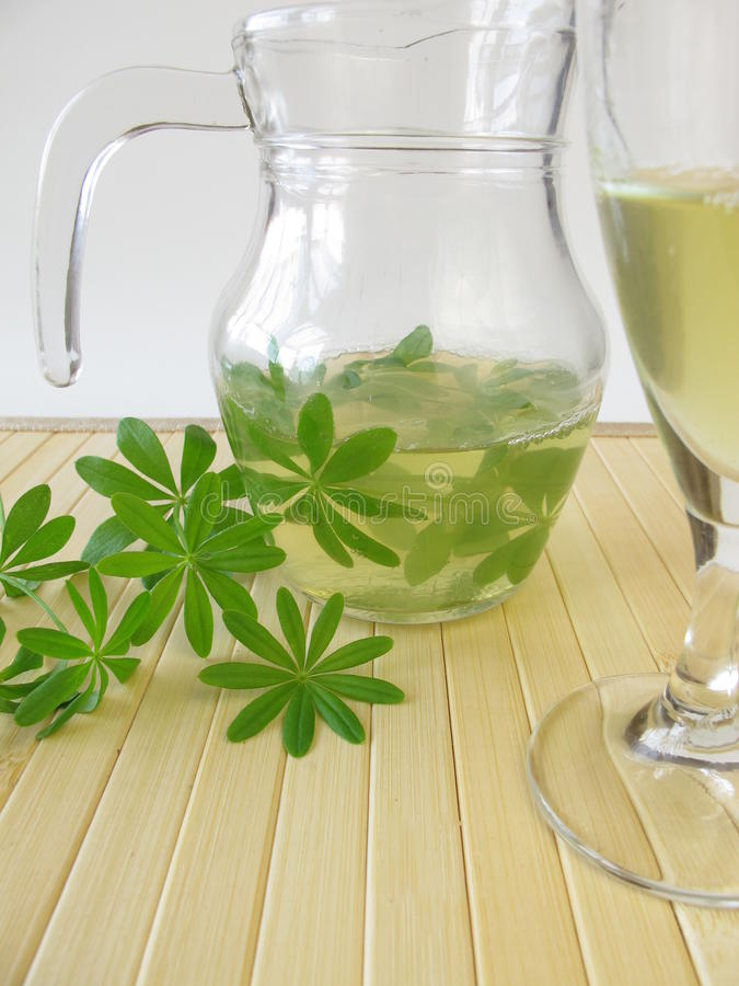 Woodruff punch. And fresh herbs royalty free stock images
