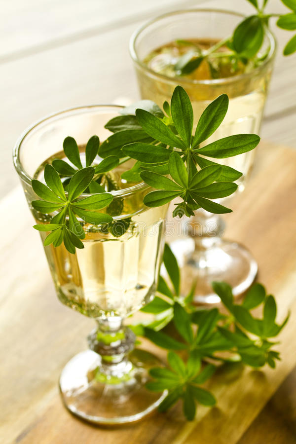 Woodruff Punch. With Woodruff Herbs on bright background stock photography