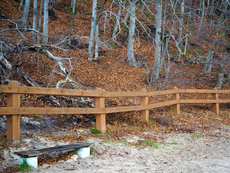 Download Woods And Hill Behind The Fence Stock Photo - Image: 83703761
