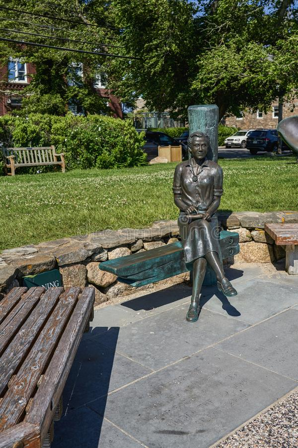 Statue of Rachel Carson author of Silent Spring. Woods Hole, MA - June 14 2019: This statue of Rachel Carson author of Silent Spring sits at Waterfront Park stock photos
