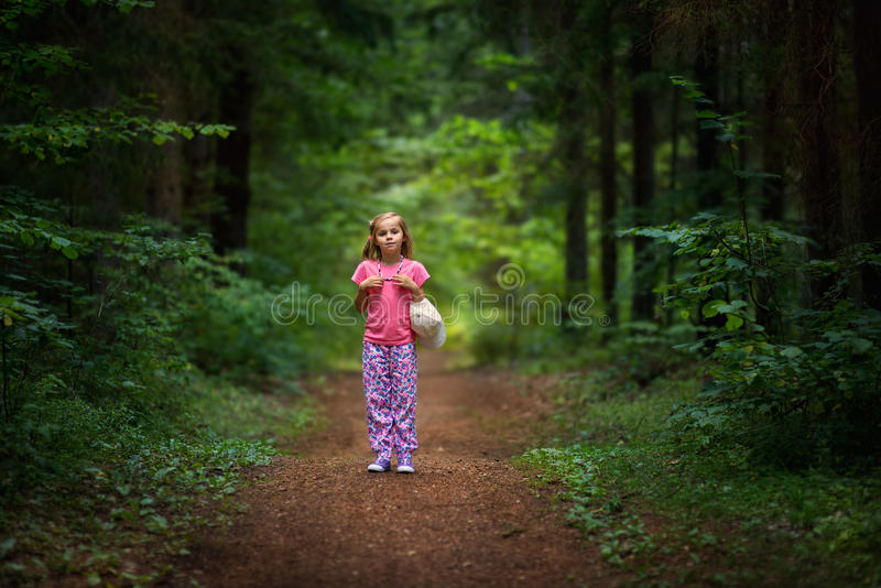 Into the Woods. A young girl out for a walk in the woods stock photo