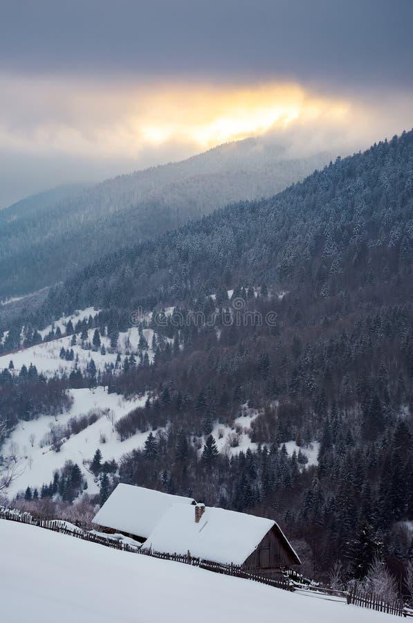 Woodshed zakrywający w śniegu na śnieżnym skłonie zdjęcie royalty free