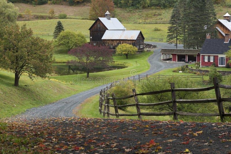 Woodstock barn in Vermont during autumn stock photo