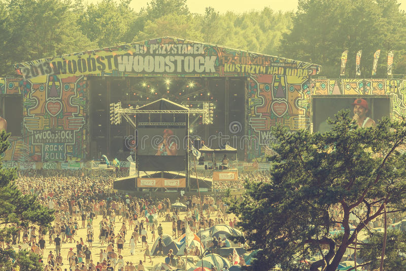 Woodstock-Festival, größtes freies Rockmusikfestival des Sommerfreilichtflugtickets in Europa, Polen stockfoto