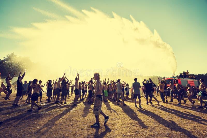 Woodstock-Festival, größtes freies Rockmusikfestival des Sommerfreilichtflugtickets in Europa, Polen lizenzfreie stockfotos