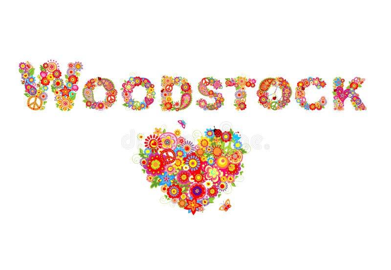 Woodstock variopinto fiorisce l'iscrizione e la forma del cuore con flower power per la stampa della maglietta, il manifesto del  royalty illustrazione gratis