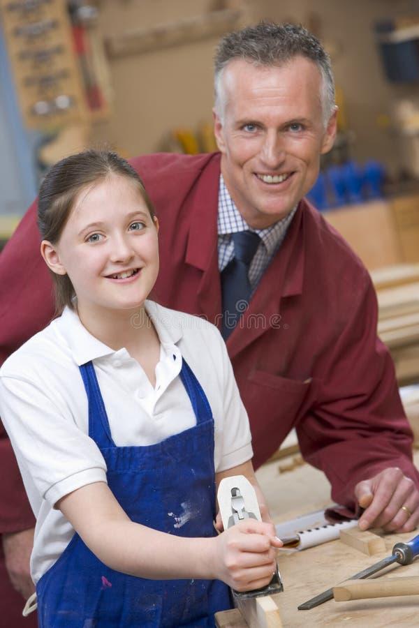 woodwork учителя школьницы типа стоковое фото