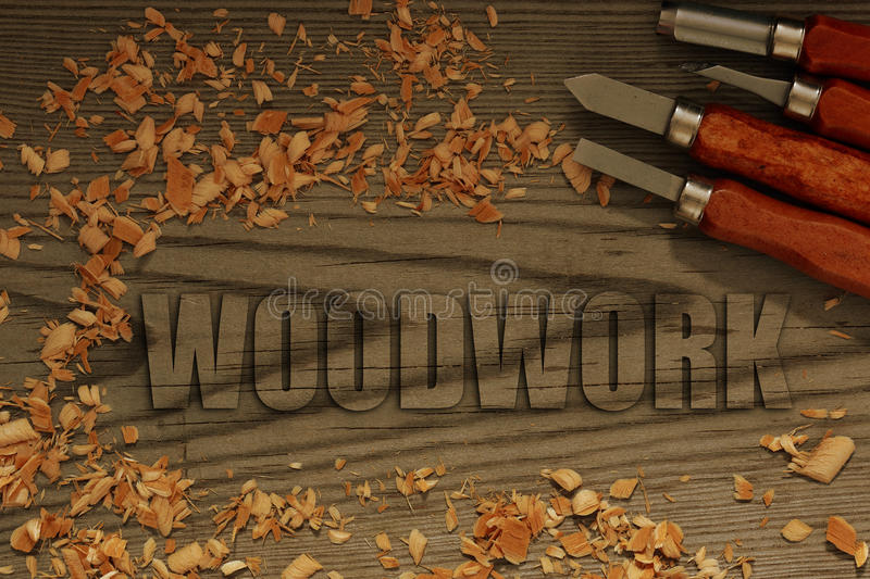 Woodwork carved in wood with chisels. And shavings royalty free stock photos