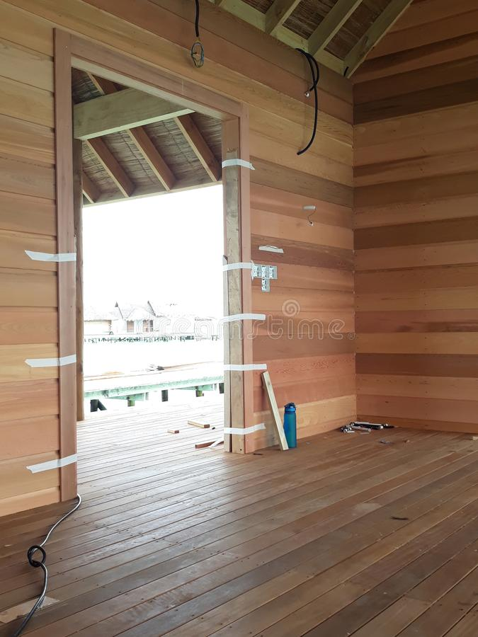 Woodwork project is full of partitions. Project, making, fences, wooden, deck, decorations, timber, work, house, room, terrace, construction, pole, roof stock photography