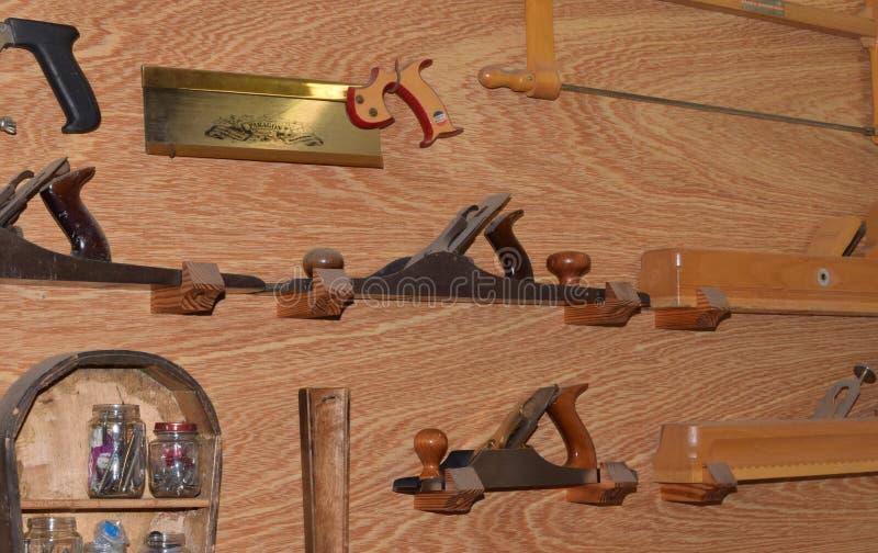 Woodwork tools 2. Fine woodworking tools on display in violin repair shop stock image