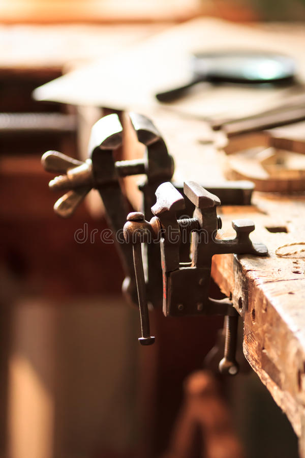 Woodwork vises stock images