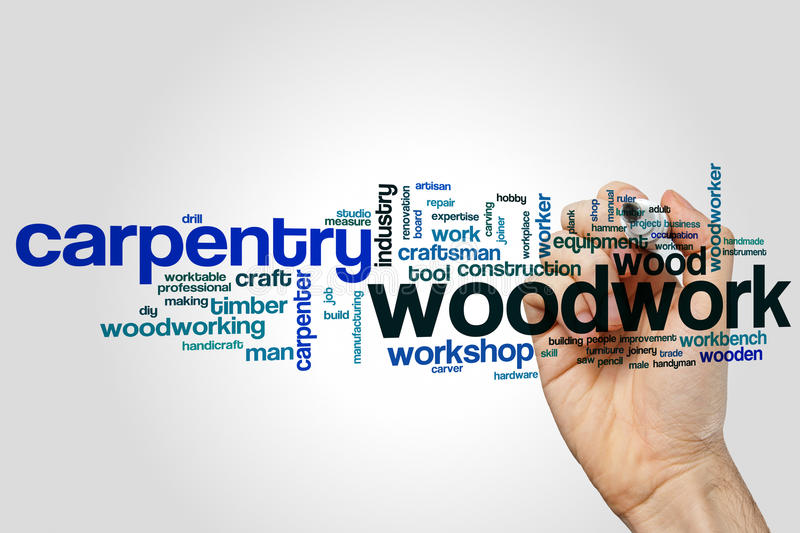Woodwork word cloud royalty free stock photo