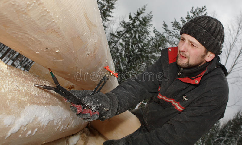 Woodworker использует измеряя инструмент во время блокгауза здания в выигрыше стоковые изображения
