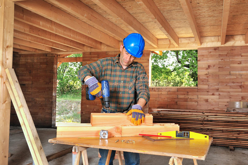 Woodworker four royalty free stock photos