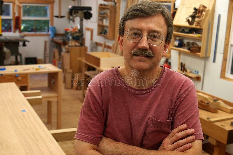 Download Woodworker In His Shop Royalty Free Stock Photos - Image: 1983318