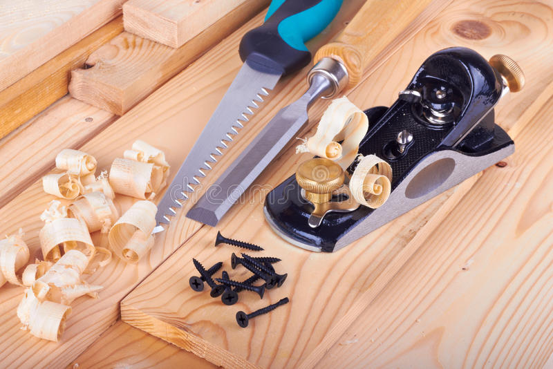 Woodworking. On work bench with shavings royalty free stock image