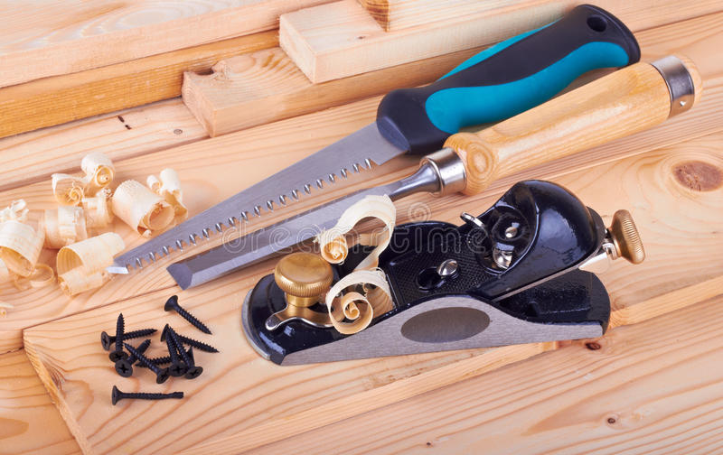 Woodworking. On work bench with shavings stock image