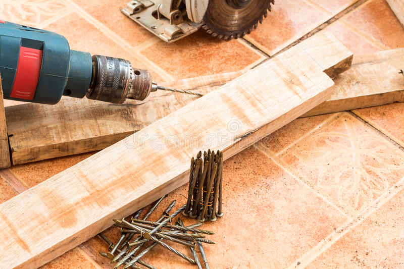 Woodworking and accessories,wood for decoration work stock photo