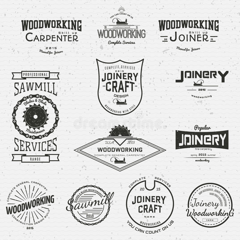 Woodworking badges logos and labels for any use stock illustration