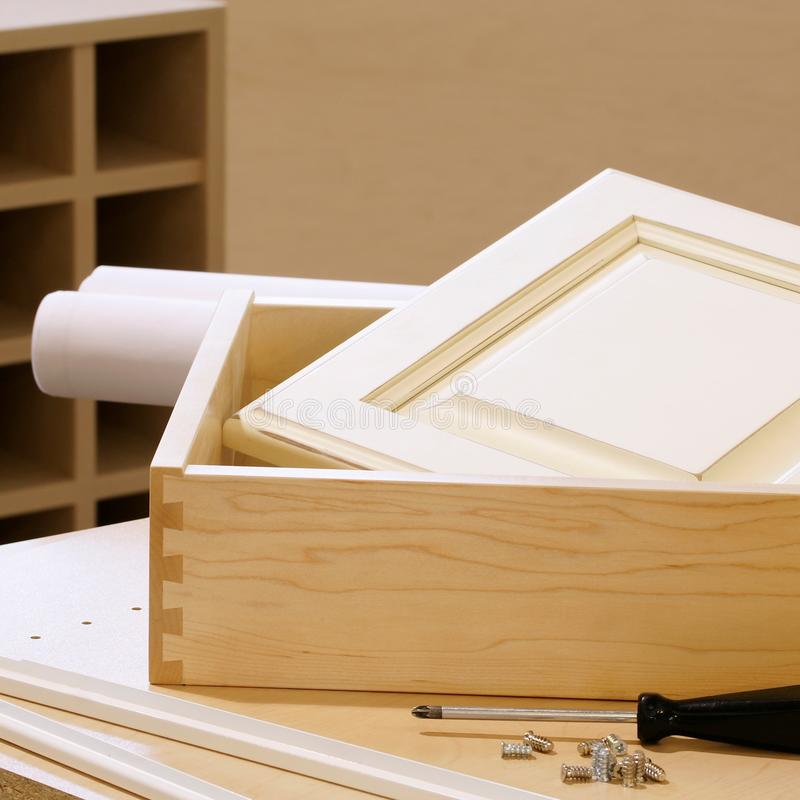 Woodworking Cabinet Construction royalty free stock images