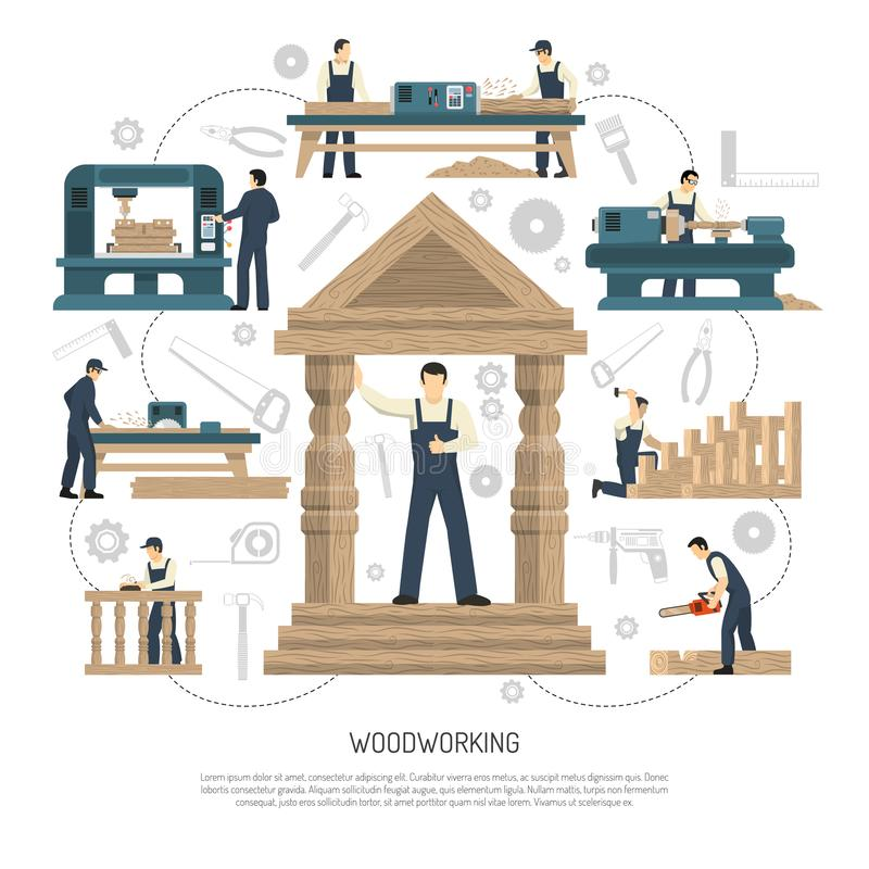 Woodworking People Background Composition royalty free illustration