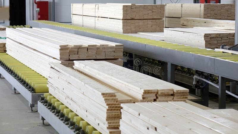 Woodworking enterprise. Production of stacked pine wood for processing and furniture production . stock photos