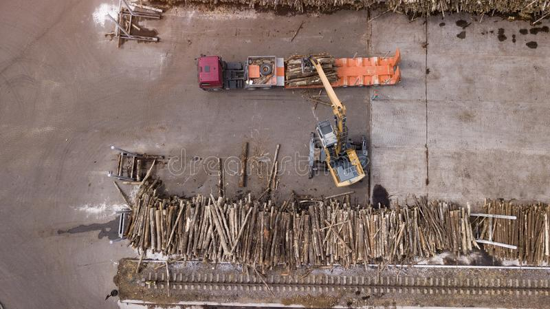 Woodworking enterprise top view aerial photography with drone stock images