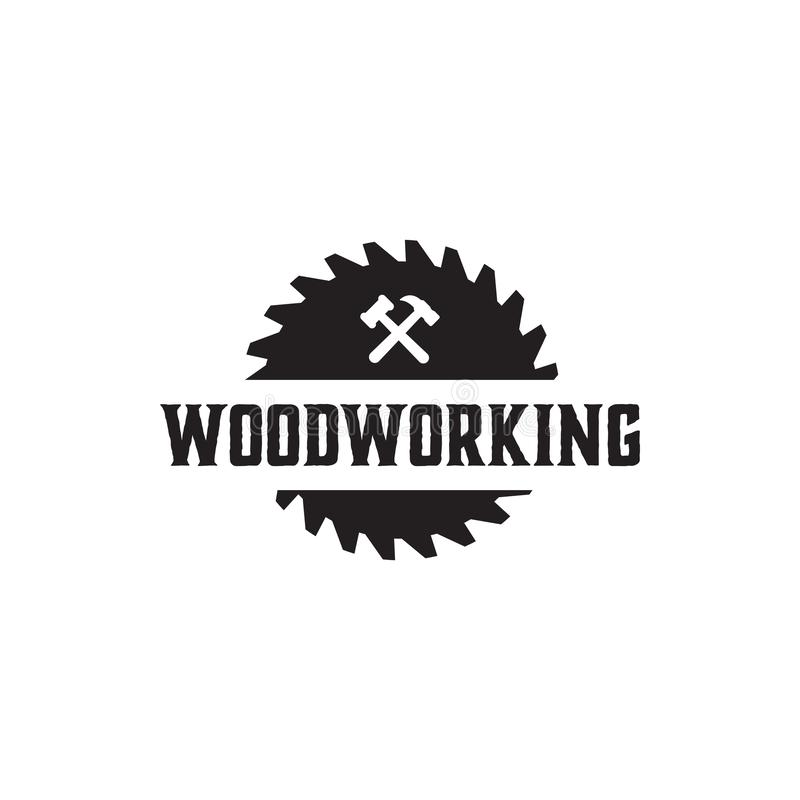 Woodworking gear logo design template vector element isolated. Symbol graphic idea creative label icon tool company sawmill badge carpentry cutting logotype royalty free illustration