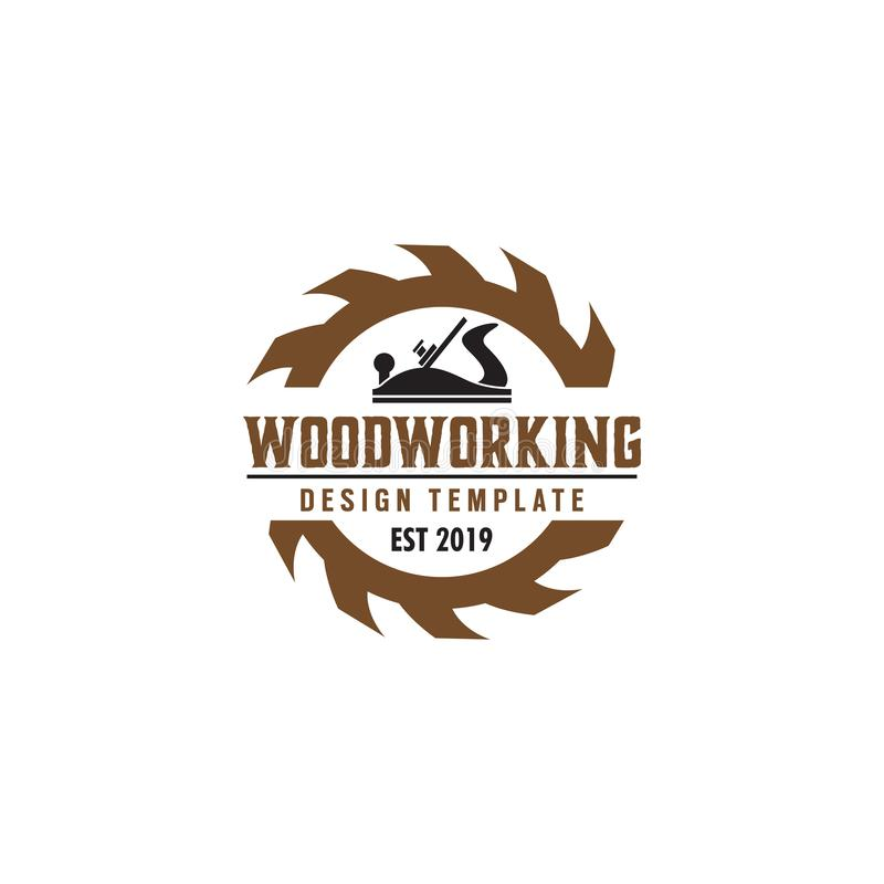 Woodworking gear logo design template vector element isolated. Symbol graphic idea creative label icon tool company sawmill badge carpentry cutting logotype vector illustration