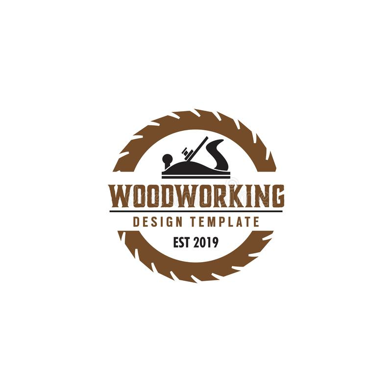 Woodworking gear logo design template vector element isolated. Symbol graphic idea creative label icon tool company sawmill badge carpentry cutting logotype stock illustration