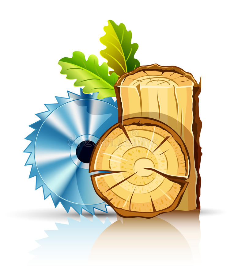 Woodworking industry wood with circular saw. Illustration isolated on white background stock illustration