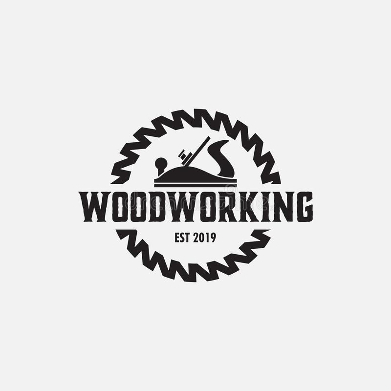 Woodworking logo design template vector isolated illustration. Symbol, graphic, idea, creative, label, icon, tool, gear, element, company, sawmill, badge royalty free illustration