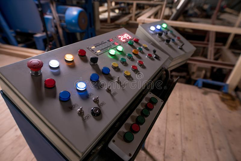 Woodworking machine control panel royalty free stock images