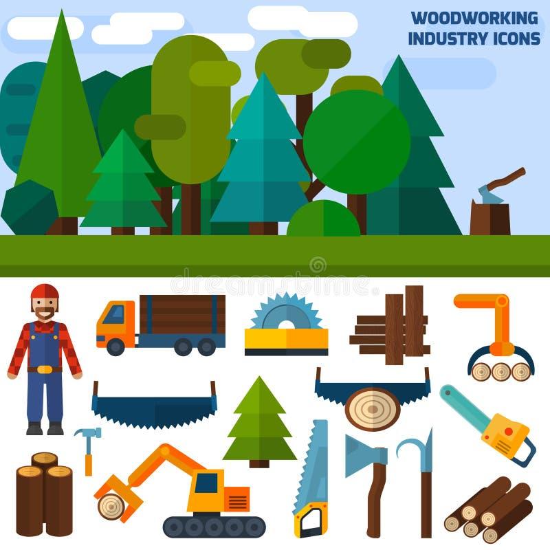 Woodworking przemysłu ikony ilustracja wektor