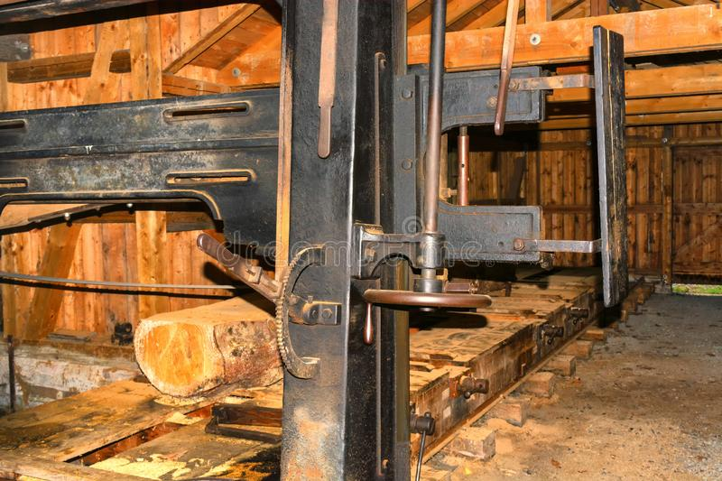 Woodworking in the sawmill stock photo